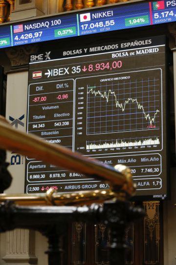 Tela com as cotações do Ibex na Bolsa de Madri.