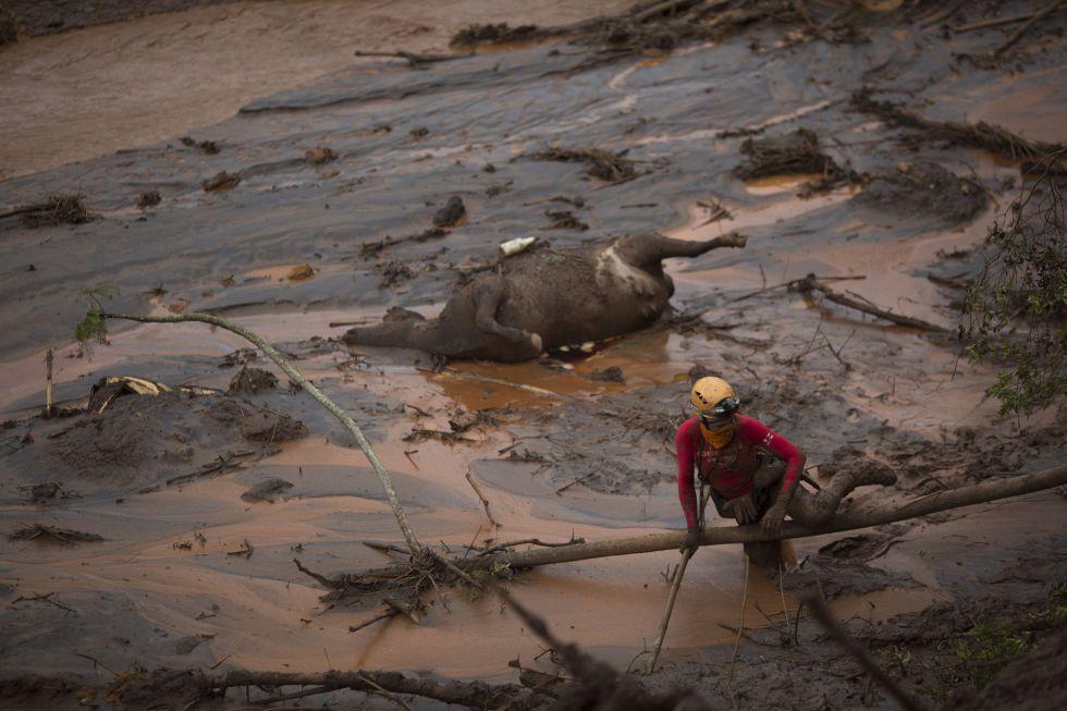 Cenário de destruição depois do rompimento da barragem