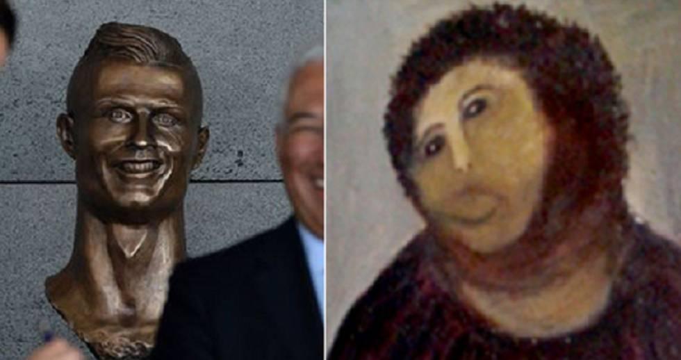 O busto de CR7 gerou muitos memes nas redes sociais.