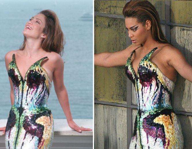 Em maio de 1998, Jennifer Lopez posou com um vestido de corte sereia com lantejoulas e cores chamativas no Festival de Cinema de Cannes (França). Dez anos depois, Beyoncé usou exatamente o mesmo vestido para uma cena de seu videoclipe 'Diva'.