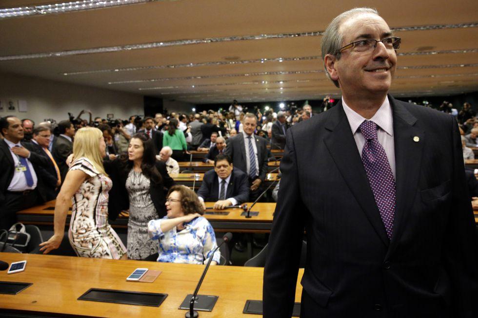 O presidente da Câmara dos Deputados, Eduardo Cunha, durante a reunião do PMDB, nesta terça.