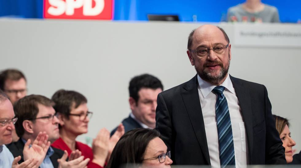 Martin Schulz, líder do SPD, no congresso federal do partido, neste domingo