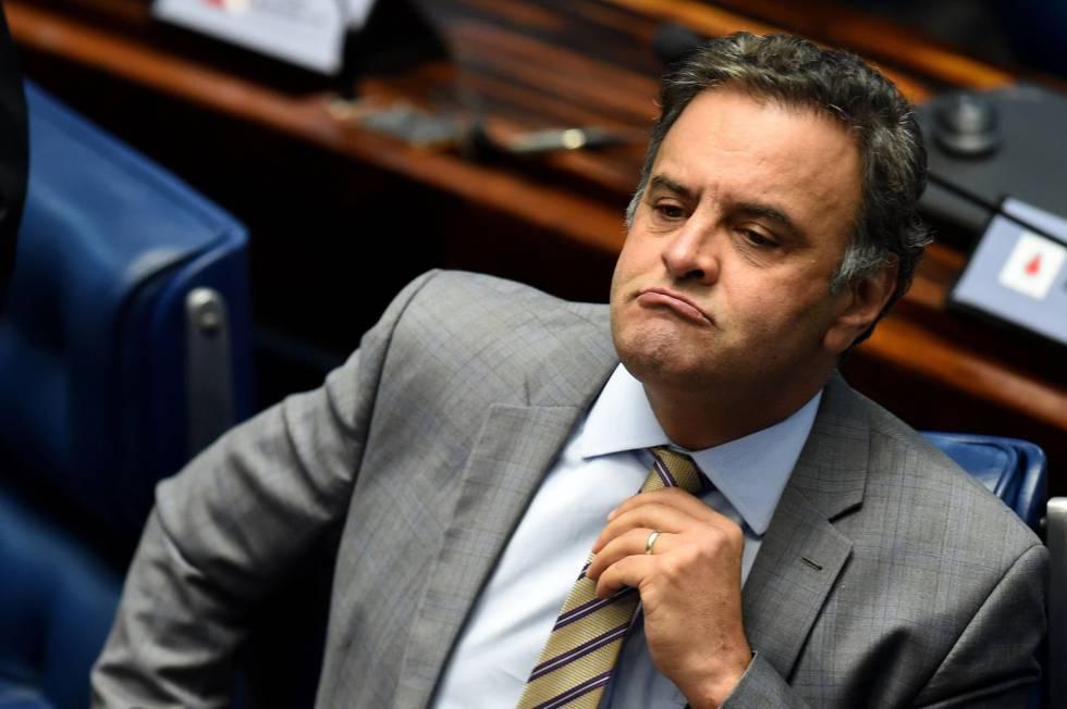Aécio Neves no dia 25 de abril, no Senado.