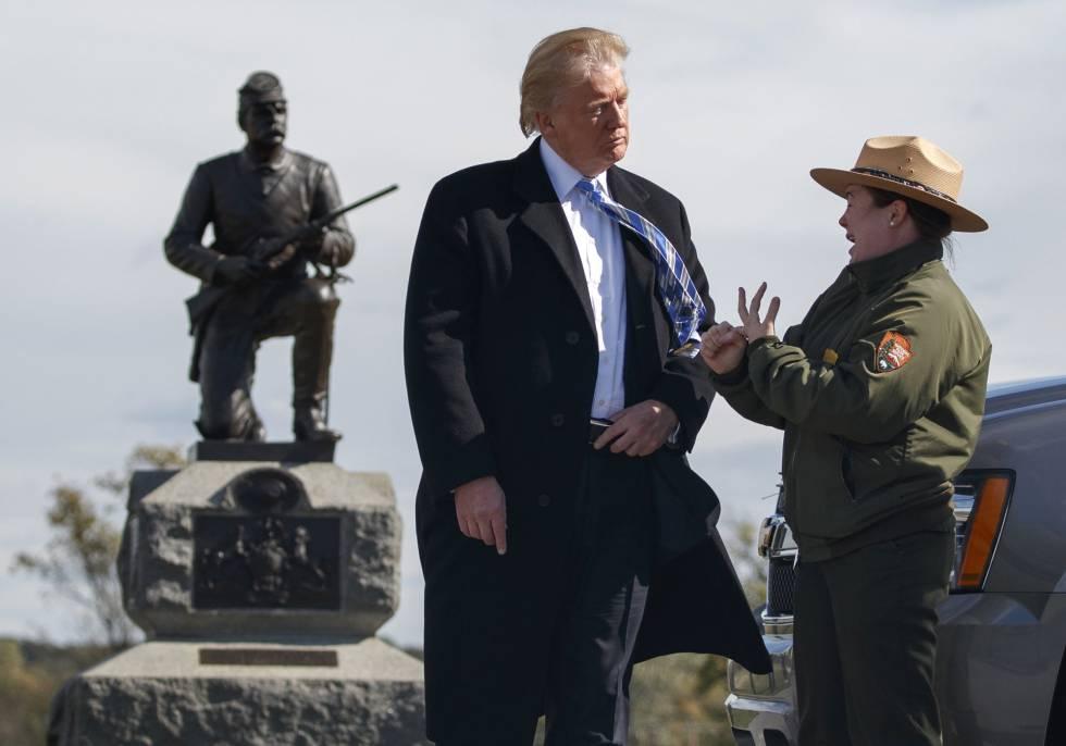 Donald Trump, no Parque Nacional Militar de Gettysburg, depois de apresentar seu plano de governo.