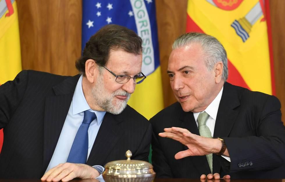 Rajoy e Temer, nesta segunda-feira.