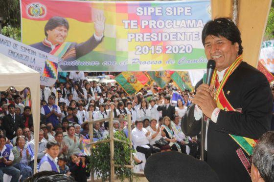 Evo Morales, durante um ato público no município de Sipe Sipe.