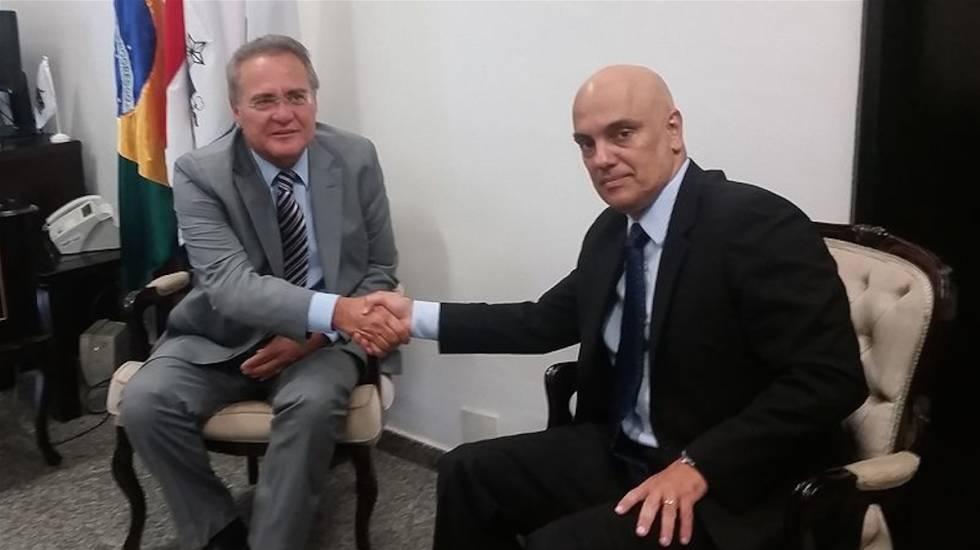 Renan Calheiros e o indicado Alexandre de Moraes.