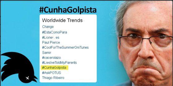 Montagem com a foto de Cunha e os Trend Topics do Twitter de quarta.