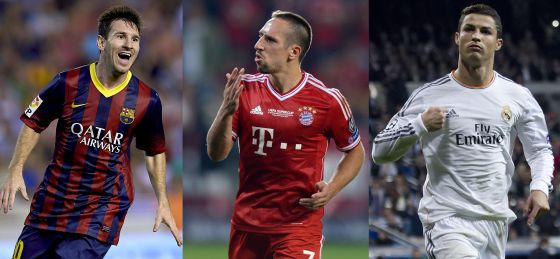 Messi, Ribéry e Cristiano Ronaldo.