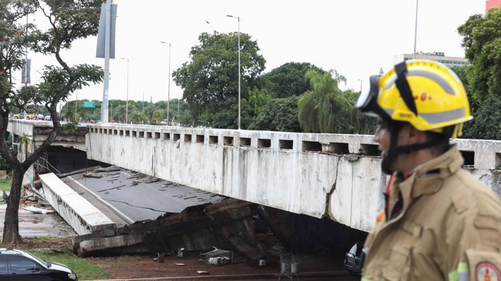 O Viaduto Galeria dos Estados (Eixão Sul) após a queda no centro de Brasília.