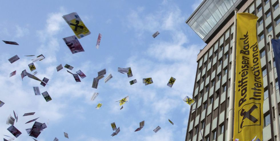 Protesto contra a lavagem de dinheiro em Viena.