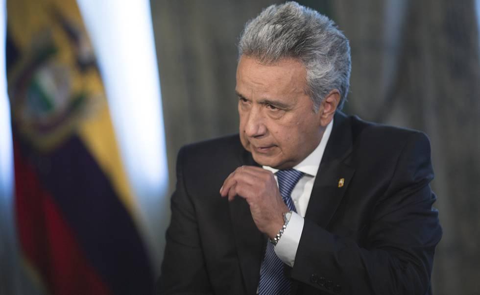 O presidente da República do Equador, Lenín Moreno, durante a entrevista.