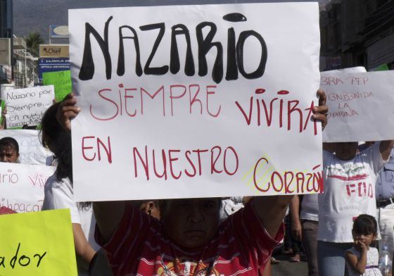 """""""Nazario sempre viverá em nosso coração"""", diz o cartaz sobre El Chapo, em 2010."""