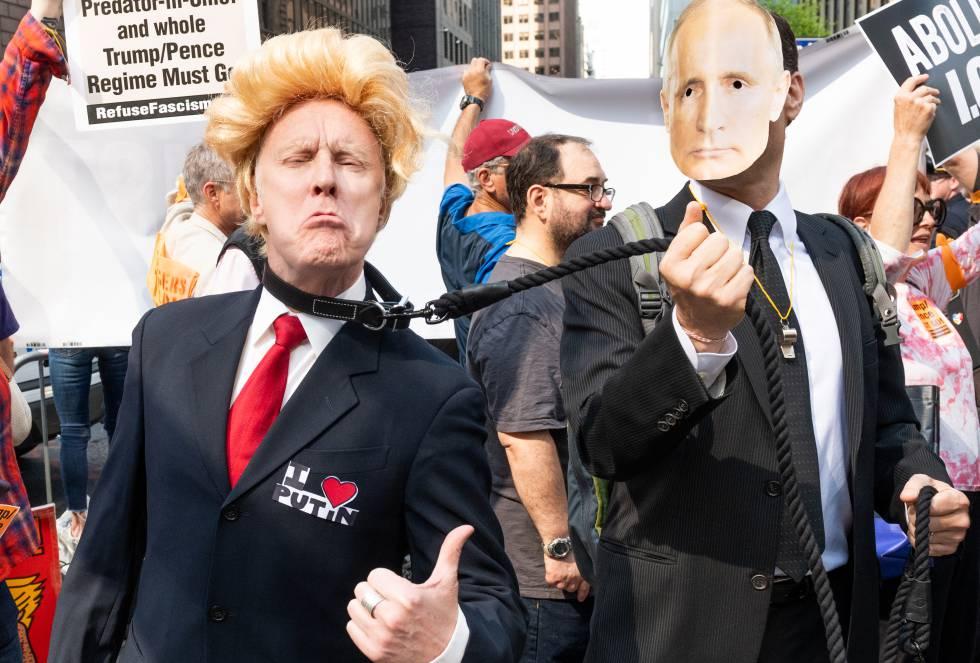 Protesto contra Donald Trump em Nova York, em maio de 2018.