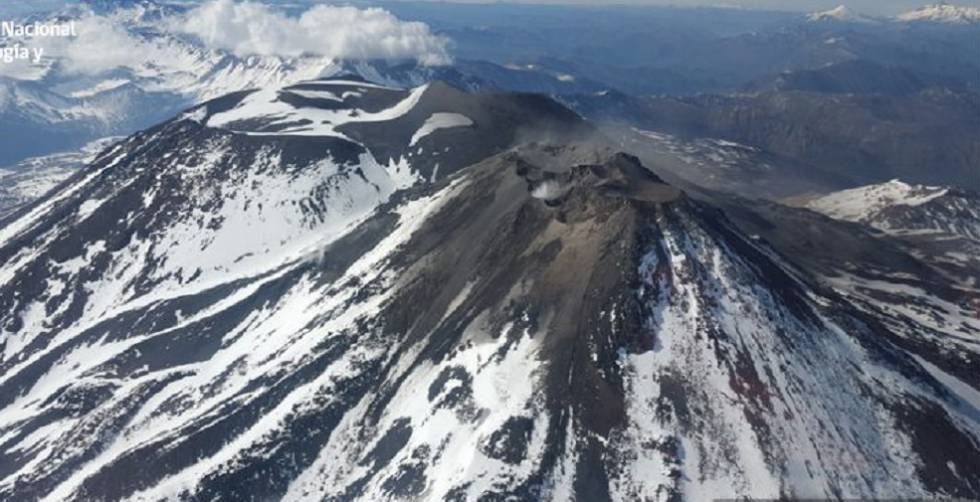 O vulcão Nevados de Chillán.