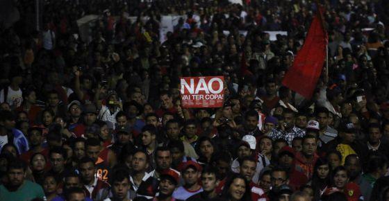 Protesto contra a Copa do Mundo no Brasil.