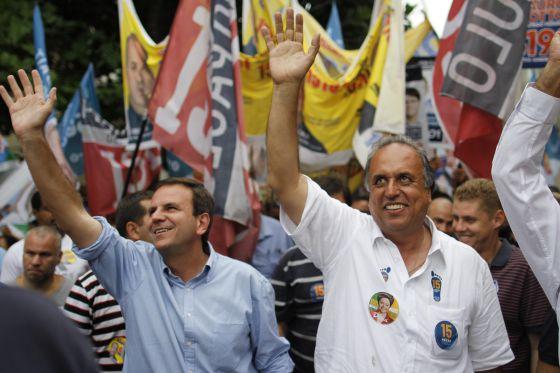 Paes e Pezão em campanha no Rio.