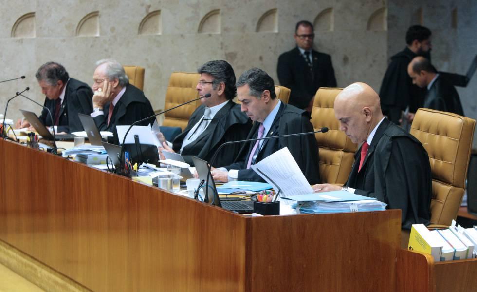 Ministros durante a sessão do STF desta quinta-feira.
