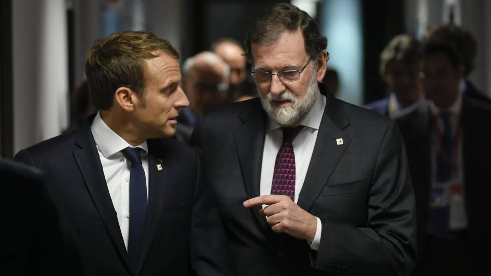 Macron e Rajoy no encontro dos líderes da UE