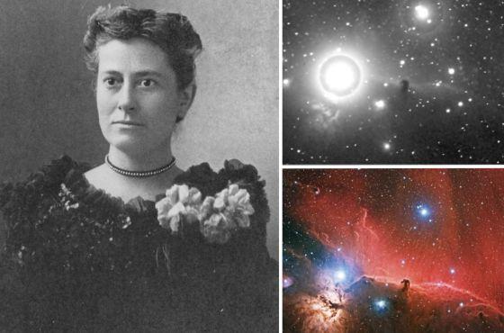 Williamina Fleming, por volta de 1890, junto à chapa, de 1888, na qual, pela primeira vez, identificou a nebulosa Cabeça de Cavalo. Abaixo, uma imagem recente do mesmo campo.