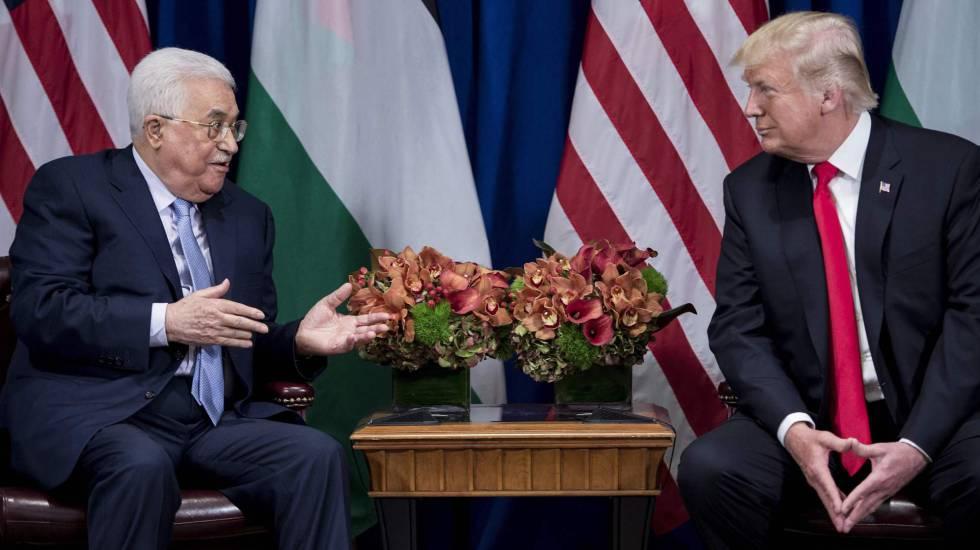 O presidente palestino com o norte-americano Donald Trump