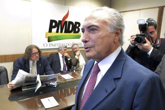 Temer na sede do PMDB, em abril.