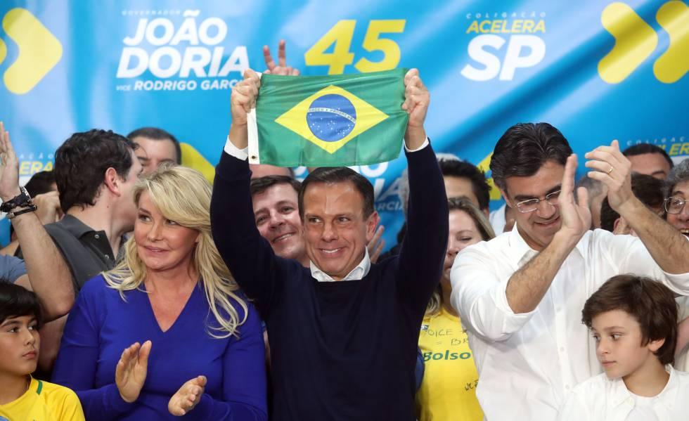 João Doria celebra sua eleição em São Paulo.