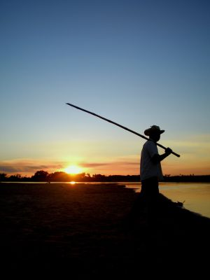 A fisherman on the Jejui river in Paraguay.