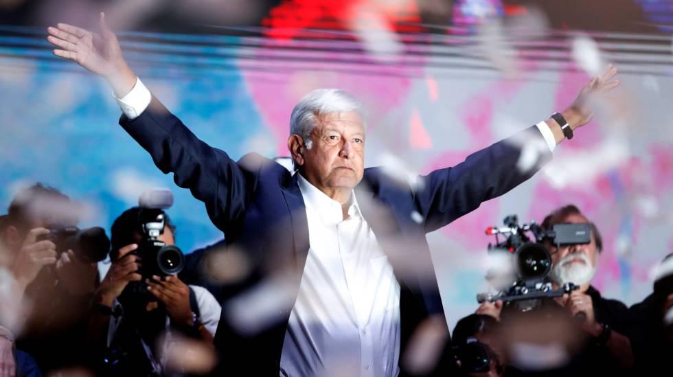 Andres Manuel Lopez Obrador durante discurso de vitória