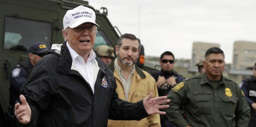 Donald Trump em Rio Grande, na fronteira com o México.
