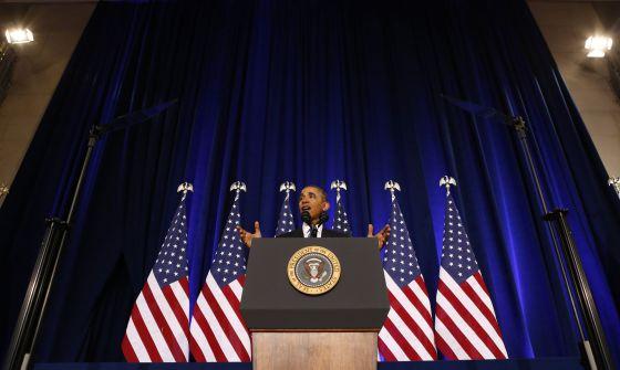 Barack Obama em discurso sobre a NSA, na semana passada.