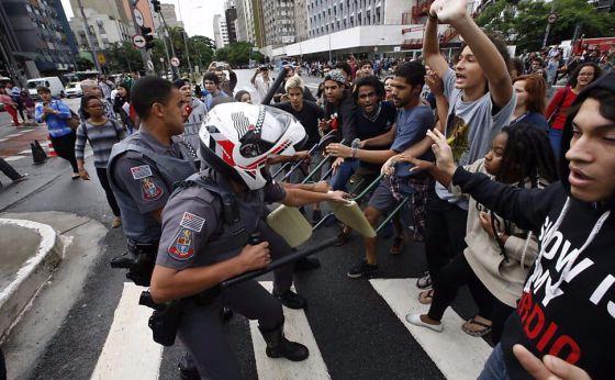 Protesto estudantil em São Paulo na semana passada.