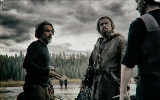 Alejandro González Iñárritu e Leonardo DiCaprio na filmagem de 'O Regresso' em Calgary.