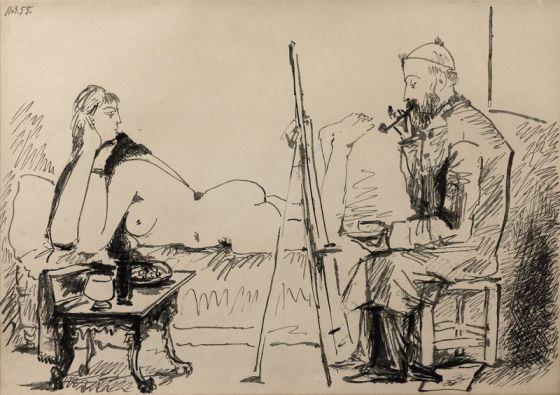 'Le peintre et son modèle' (1955).