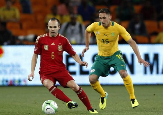 Iniesta, durante o recente amistoso contra a África do Sul.