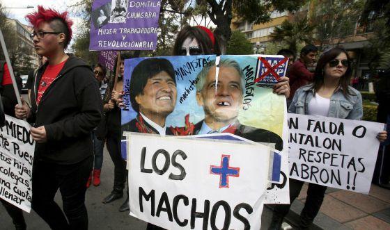 Protesto em La Paz contra o machismo.