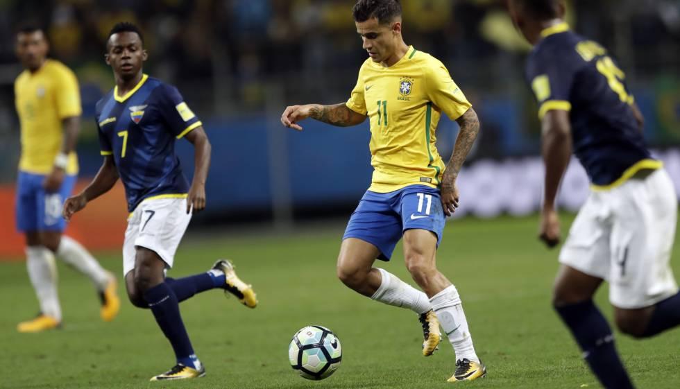 Philippe Coutinho no jogo último da seleção contra o Equador.