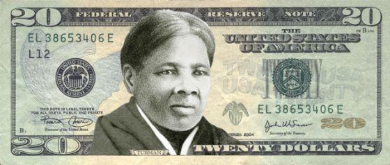 Montagem de uma nota de 20 dólares com o rosto de Harriet Tubman.