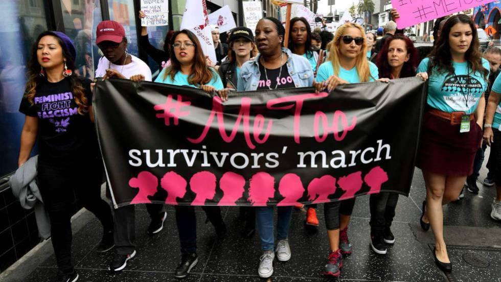 Marcha do movimento #Metoo em Hollywood.