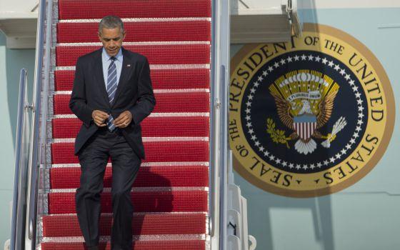 Obama, nesta quinta-feira, ao voltar de Austin para Washington.