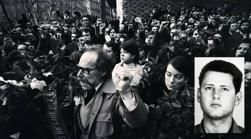 Passeata após o massacre de advogados no bairro de Atocha (Madri), em 1977. No destaque, García Juliá.