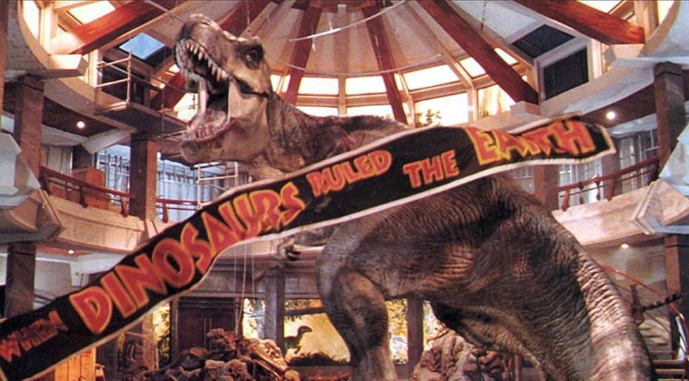 Fotograma do filme 'Parque Jurásico', um dos poucos espaços nos que conviveram humanos e dinossauros