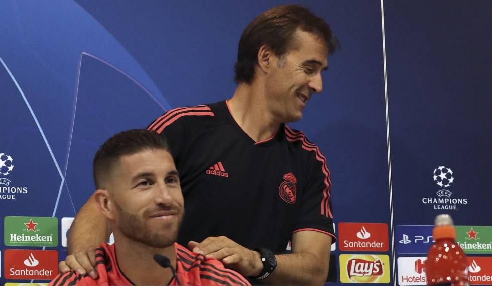 Julen Lopetegui e Sergio Ramos durante coletiva antes da partida entre Real e Roma.