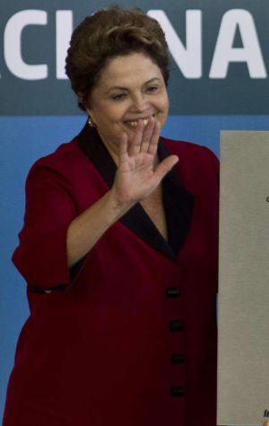 Dilma Rousseff na inauguração da nova terminal de Guarulhos, nesta terça-feira.