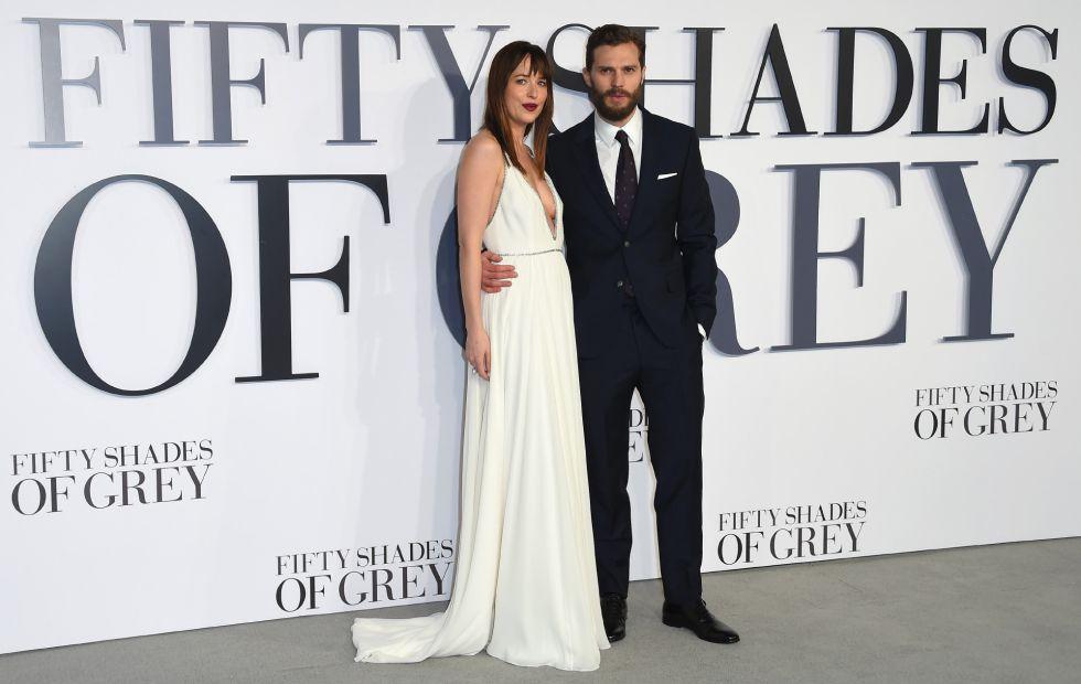 Dakota Johnson e Jamie Dornan, na estreia de 'Cinquenta Tons de Cinza', em Londres.