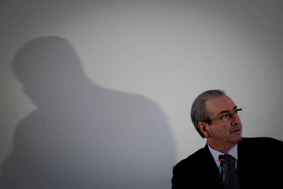 Eduardo Cunha durante coletiva em hotel de Brasília.