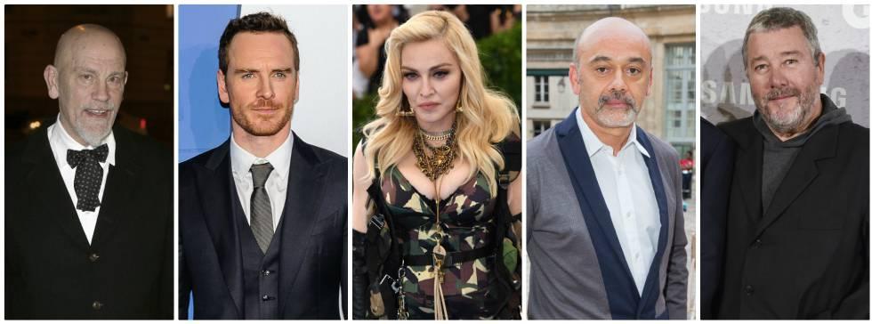 Os atores John Malkovich, Michael Fassbender, a cantora Madonna, e os estilistas Christian Louboutin e Philippe Stark.