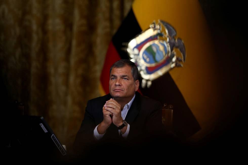O presidente do Equador, Rafael Correa, numa entrevista coletiva em Quito, na quarta-feira.