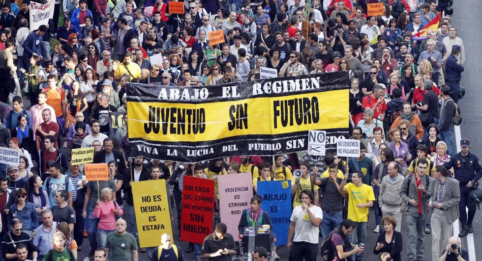 Manifestação em Madri contra os cortes na educação, em outubro de 2011.