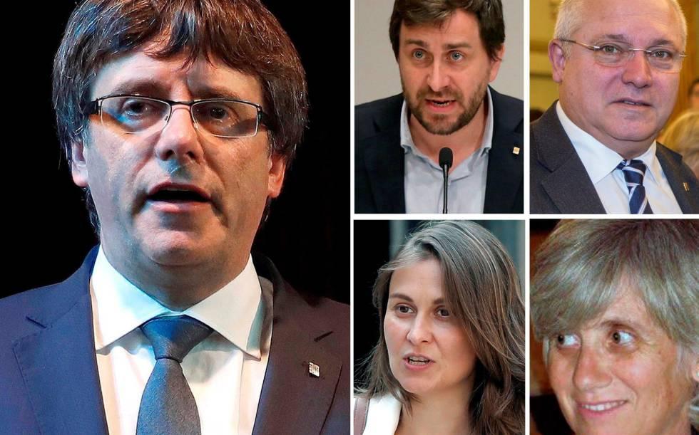 Carles Puigdemont e os quatro ex-conselheiros